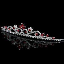 Red Floral Bridal Headpiece Crystal Rhinestone Prom Wedding Tiara V808