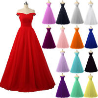 Long Off Shoulder Tulle Formal Ball Gown Party Evening Prom Bridesmaid Dresses