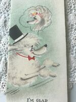 Vintage Fathers Day Card Hallmark Glitter White Poodles Hubby Husband MCM