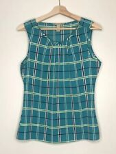 Banana Republic Womens Blue White Green Sleeveless Plaid Top Shell Size M