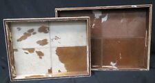 Made Good Decorative Rectangular Trays Cow Skin Design Brown & White