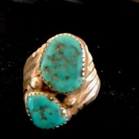 Native American Sterling Silver Kingman Turquoise Ring Size 11.5 Signed Old Pawn