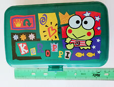 Sanrio KEROPPI Green Plastic Pencil Box Double Layer RARE Stationary Storage