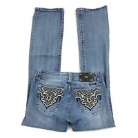 Miss me Buckle Boot cut Feather Border Embellished Denim Blue Jeans 30 x 33