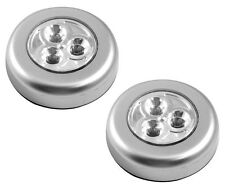 2x LED ROUND LIGHTS STICK N CLICK SELF ADHESIVE BATTERY OPERATED PUSH UK POST