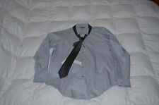 Authentic DKNY Slim Fit Dress Shirt with Gray Silver Tie Mens 16.5 34/35
