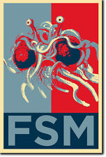 FLYING SPAGHETTI MONSTER PHOTO PRINT POSTER GIFT (OBAMA HOPE INSPIRED) ATHEISM