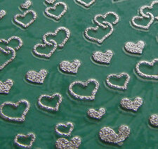 Nail Art 3D Sticker Metal like Silvertone Mini Hearts love Valentine 90 stickers