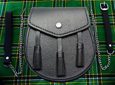 3 Tassels Scottish Kilt Sporran, Fine Quality Black Cowhide Real Leather + Belt