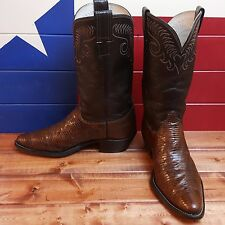 Men's Olathe Brown Lizard and Chocolate Leather Western Cowboy Boots size 9C