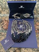 SWAROVSKI GLAMOUR Swan Signed Authentic Blue Necklace Bracelet Set NIB $1000