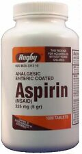 Rugby EC Aspirin 325mg 1000ct Tablets  -Expiration Date 02-2019-