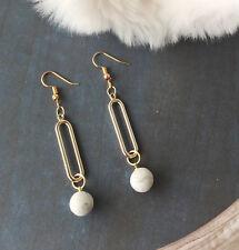 Polymer clay Marble Beads Earrings Dangle Hoop Clay Bead Drop Earrings Clay Ball