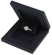 Slim Hidden Proposal Engagement Ring Box, Black
