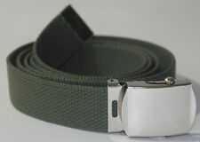 "NEW ADJUSTABLE 42"" INCH OLIVE GREEN CANVAS MILITARY WEB BELT CHROME BUCKLE"