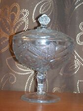 ANTIQUE CLEAR EAPG LARGE GLASS COVERED COMPOTE ON PEDESTAL OLD ESTATE FIND