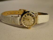 Dugena Damenuhr , 585 Gold mit weißem Krokolederband, 60er Jahre Vintage