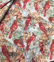 BTY 1 Yard Cardinal Pine Cone Birdhouse Cotton Fabric Quilt Sew