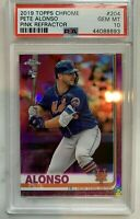 2019 Topps Chrome Pete Alonso Pink Refractor #204 Rookie RC- Gem Mint PSA 10