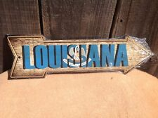 """Louisiana State Flag This Way To Arrow Sign Directional Novelty Metal 17"""" x 5"""""""