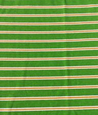 Stretch Cotton Rugby Knit Fabric Stripes Lime Green Orange White Sewing  NOS