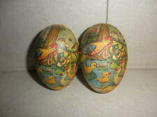 """Pair German Republic 3 3 1/2"""" Lithograph Mini Easter Eggs Candy Container Chicks"""