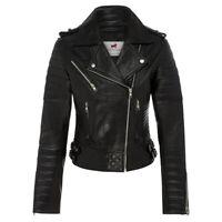 Women Black Real Leather Moto Jacket-Women's Genuine Lambskin Vintage Style Coat