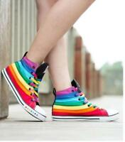 Women's high top Fashion rainbow canvas trainers sports sneakers Autumn shoes