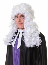 Adults White Deluxe Judge Style Hair Piece Court Wig Accessory