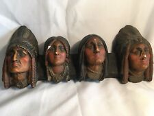 Rare Vintage Indian Faces Heads Chalkware Chiefs Busts Native American Chalk War