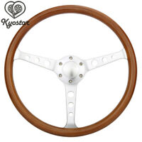 "15"" Classic Wood Grain Silver Round Hole Brushed Spoke Steering Wheel + Horn Kit"