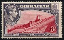 Gibraltar 1938-51 SG#126b, 6d Carmine & Grey-Violet P13 KGVI MH #D47993