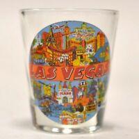 Las Vegas, Nevada on 1oz Glass Shot Glass MGM Grand Aladdin Manda Lay Bay Luxor
