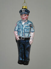 "Police Officer Cop Blown Glass Christmas Ornament 5.5"" Security Guard NEW"