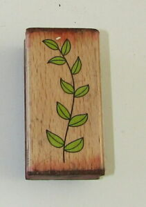 """Stem Leaves Rubber Stamp Wood Mounted 2.5"""" High"""