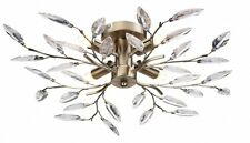 MODERN WILLOW FLUSH 4 LIGHT ANTIQUE BRASS LEAF DESIGN CEILING FITTING CHANDELIER