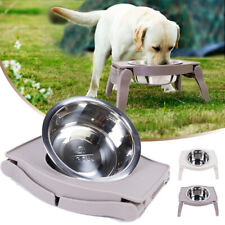 Stainless Steel Dog Raised Bowl Elevated Stand Non-Slip Pet Feeder Foldable Bowl