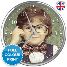 Large Personalised Custom Round Photo Wall Clock | Chrome & Glass | 31cm