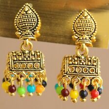 Indian Gold Oxidized Pearl Fashion Ethnic Bollywood Stud Small Jhumka Earrings