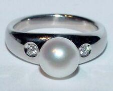 PLATINUM Bridal Anniversary Ring Signed ~M~ 8mm Pearl Diamond Band 11G Size 6.75