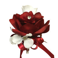 Wedding Prom Artificial Pin Corsage: Apple Red and White Roses with Hydrangea