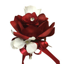 Pin Corsage:Apple Red and White rose with hydrangea accents.Artificial flower