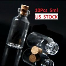 10pcs 5ml Clear Empty Small Wishing Message Glass Bottles Vial Diy With Cork, Us