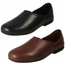 MENS CLARKS 'HARSTONELITE' LEATHER SLIP ON HOUSE SLIPPERS