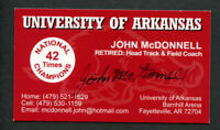John McConnell signed autograph Arkansas Track & Field Coach Business Card BC454