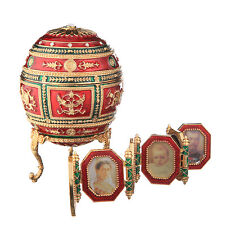Faberge Egg / Trinket Jewel Box Heraldic with photoframes 5.1'' 13cm red & green