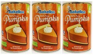 (Pack of 3) Bakeroo Tinned Pumpkin Puree (Pumpkin Pie Filling)100% Natural-425g