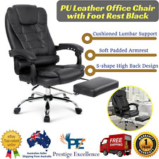 Executive Office Computer Chair Recliner Work Seat Faux Leather Footrest Black