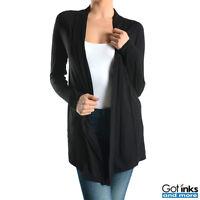 Women's Long Sleeve Open-Front Longline Tunic Soft Draped Rayon Cardigan Sweater