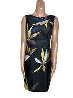 HOBBS Black Silk Sequin Pencil Dress UK 10 Button Back Elegant Stunning